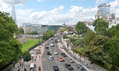 Part of London's proposed section of segregated cycle lane at Tower Hill