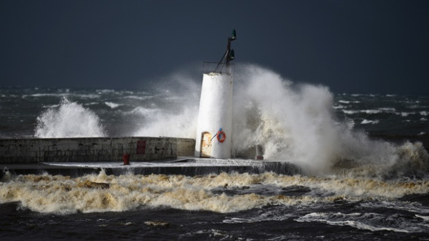 Storms from hurricane Gonzalo at Girvan harbour, Scotland