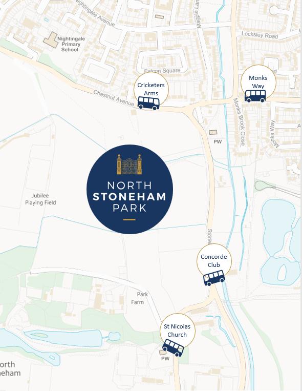 Stoneham Bus Stop Map